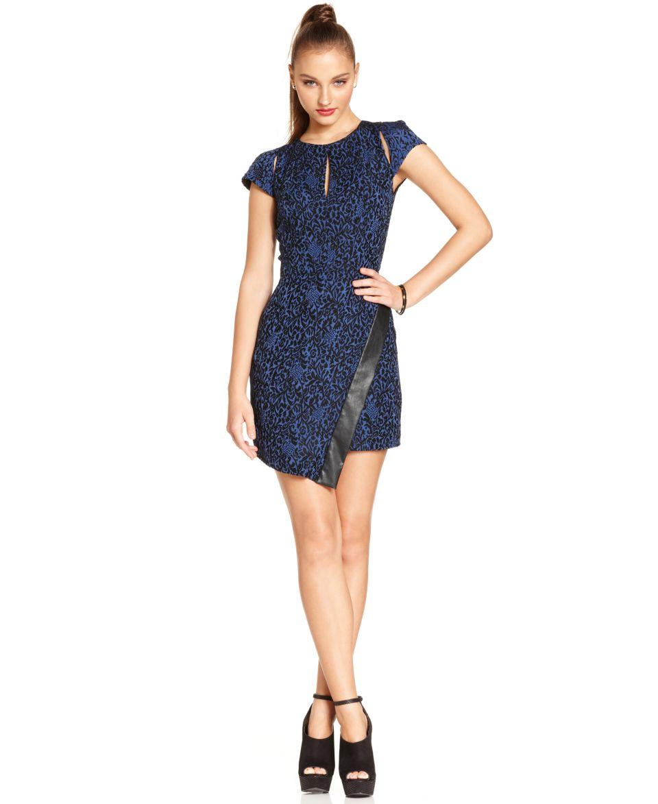 W118 by Walter Baker Dress, Short Sleeve High Neck Cutout Faux Leather   Dresses   Women