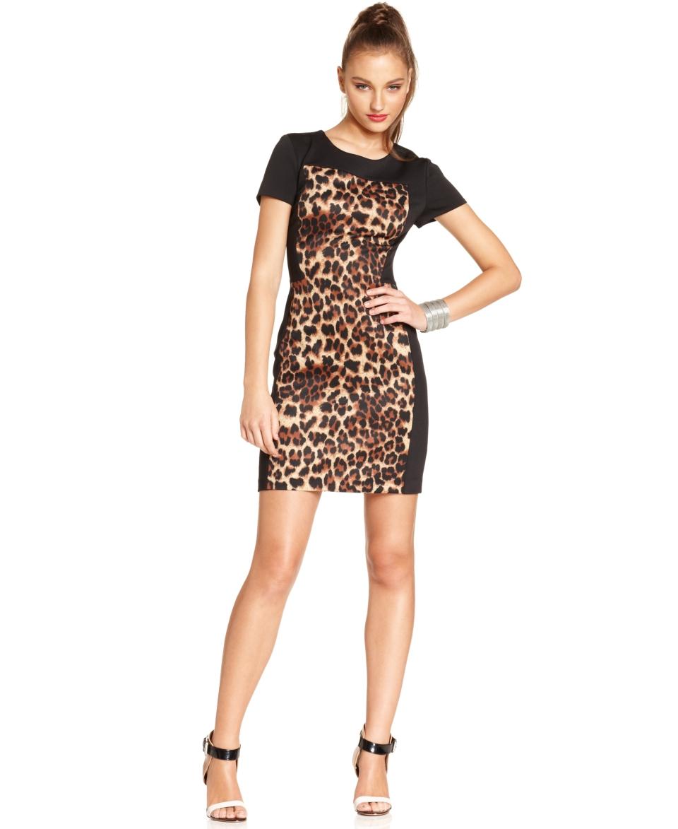 W118 by Walter Baker Dress, Corey Short Sleeve High Neck Leopard Colorblocked Mini   Dresses   Women