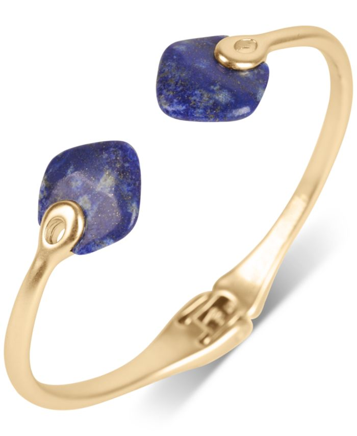 Lucky Brand Gold-Tone Gold-Flecked Lapis Cuff Bracelet & Reviews - Bracelets - Jewelry & Watches - Macy's