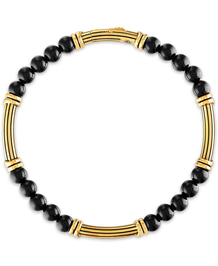 Esquire Men's Jewelry Onyx Bead Bracelet in 14k Gold-Plated Sterling Silver, Created for Macy's & Reviews - Bracelets - Jewelry & Watches - Macy's