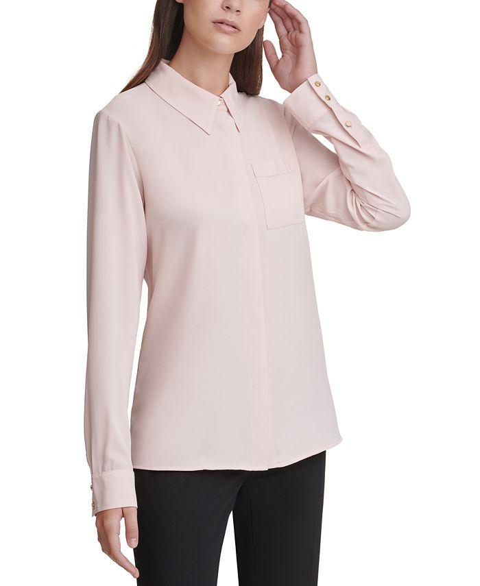 Calvin Klein - Long-Sleeve Button-Down Blouse