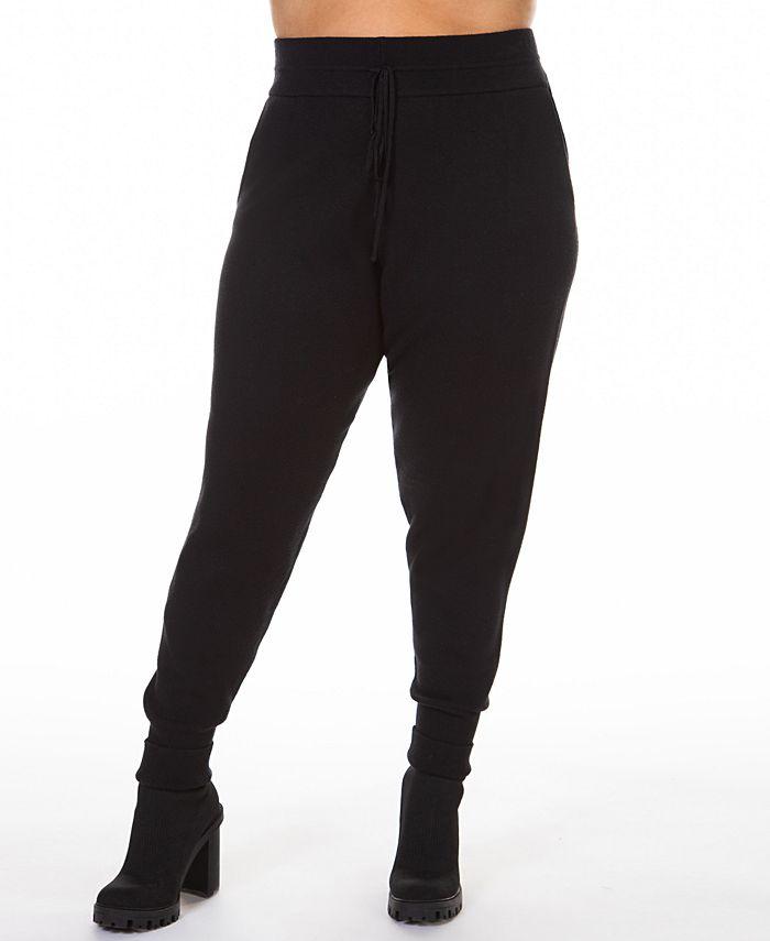 Black Tape - Plus Size Drawstring Knitted Jogger Pants