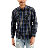 Deals on Sun + Stone Mens Silas Western Plaid Shirt