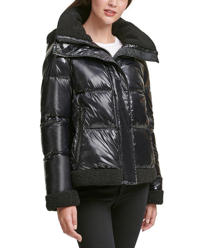 Calvin Klein - Fleece-Trim Hooded Puffer Coat