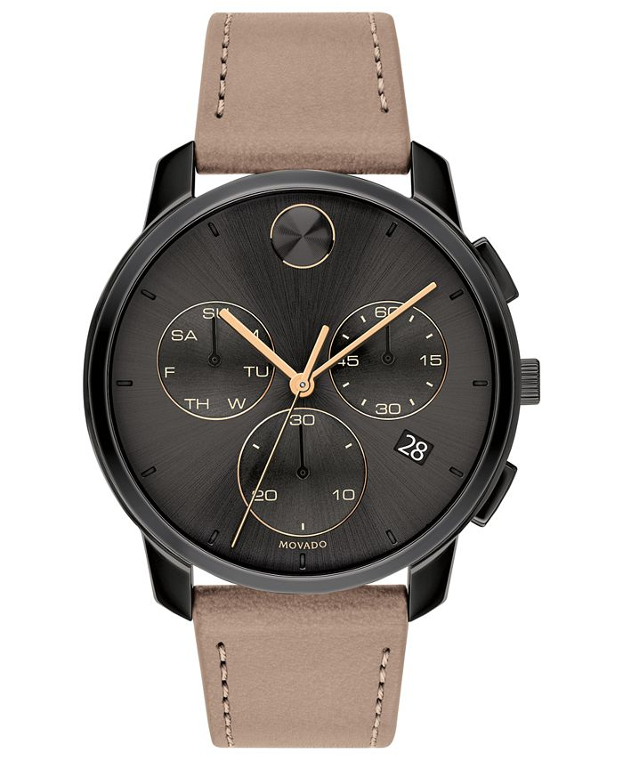 Movado - Men's Swiss Chronograph BOLD Taupe Leather Strap Watch 42mm