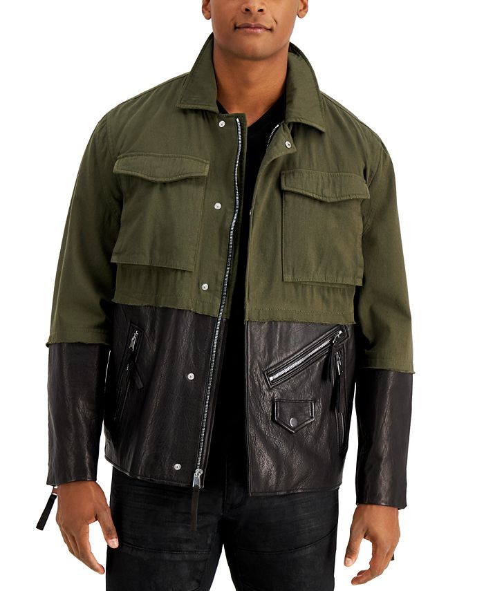INC International Concepts - Men's Mixed-Media Pieced Colorblocked Jacket
