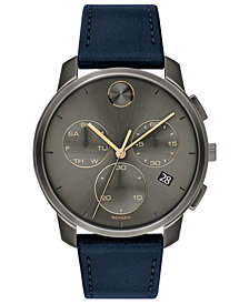 Movado Men's Swiss Chronograph BOLD Navy Leather Strap Watch 42mm