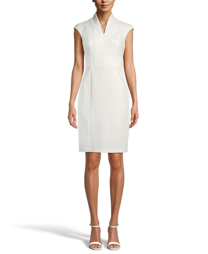 Anne Klein - Zip-Front Crepe Sheath Dress
