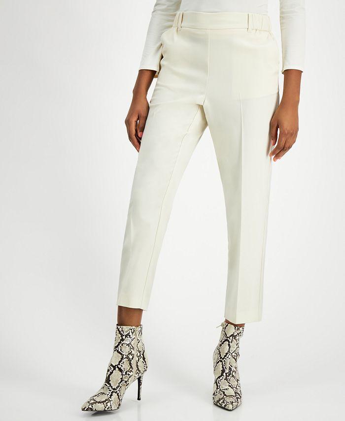 Alfani - High-Rise Pull-On Slim-Leg Ankle Pants