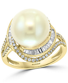 EFFY® Cultured Freshwater Pearl (12mm) & Diamond (1/2 ct. t.w.) Ring in 14k Gold