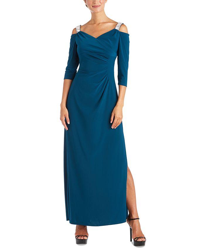 R & M Richards - Embellished Cold-Shoulder Gown