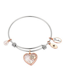 """""""Grandma"""" Heart-Shaped Shaker with Flower Silver Plated Charm Adjustable Bangle Bracelet in Rose Gold Two-Tone Stainless Steel"""