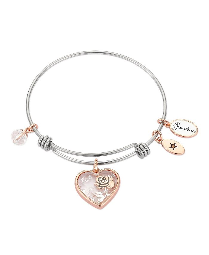 """Unwritten - """"Grandma"""" Heart-Shaped Shaker with Flower Charm Adjustable Bangle Bracelet in Rose Gold Two-Tone Stainless Steel"""