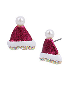Betsey Johnson Festive Santa Hat Stud Earrings