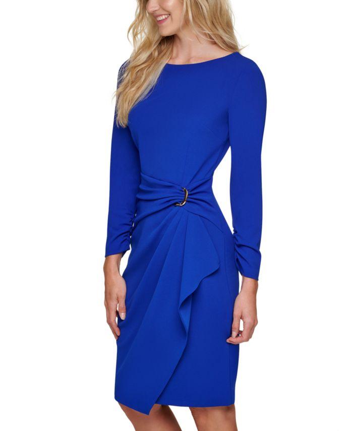 DKNY Ring-Detail Draped Dress & Reviews - Dresses - Women - Macy's
