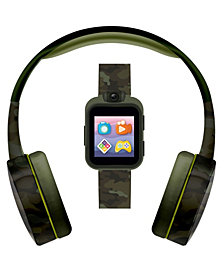 Kid's Playzoom Green Camouflage Print Tpu Strap Smart Watch with Headphones Set 41mm