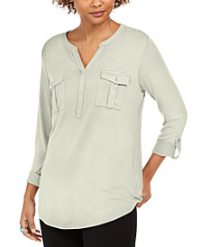 Style & Co Plus Size Roll-Tab Buttoned-Neck Top, Created for Macy's
