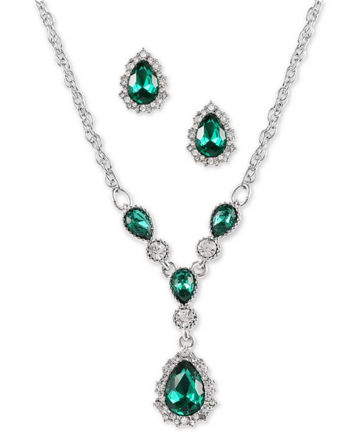 """Charter Club Silver-Tone Green Stone Teardrop Earrings & Pendant Necklace, 17"""" + 2"""" extender, Created for Macy's & Reviews - Necklaces - Jewelry & Watches - Macy's"""