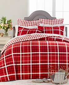Martha Stewart Collection Wyoming Plaid Flannel Duvet Covers, Created for Macys