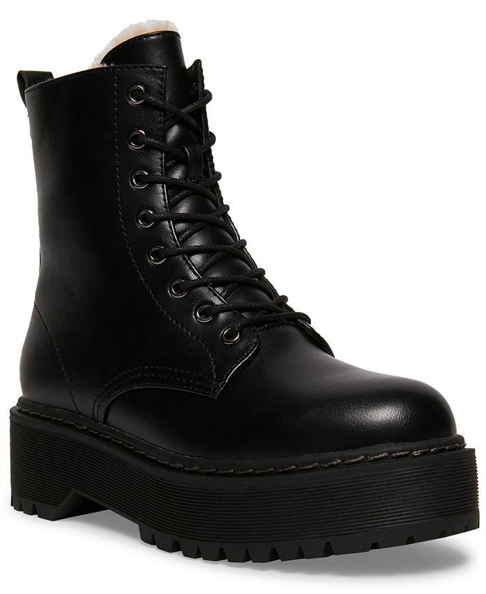 Steve Madden - Women's Betty-F Faux-Fur Combat Boots