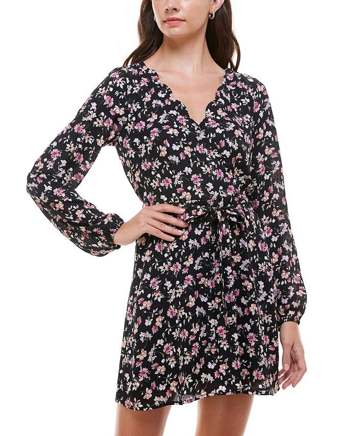 Trixxi - Juniors' Floral-Print Scalloped Fit & Flare Dress