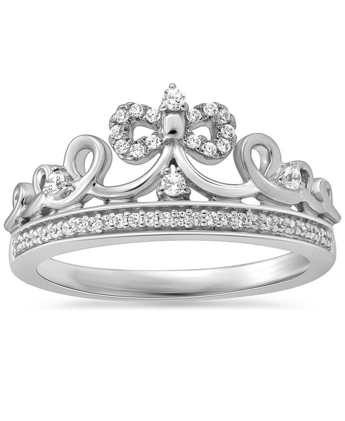 Enchanted Disney Fine Jewelry - Diamond Cinderella Bow Tiara Ring (1/6 ct. t.w.) in Sterling Silver