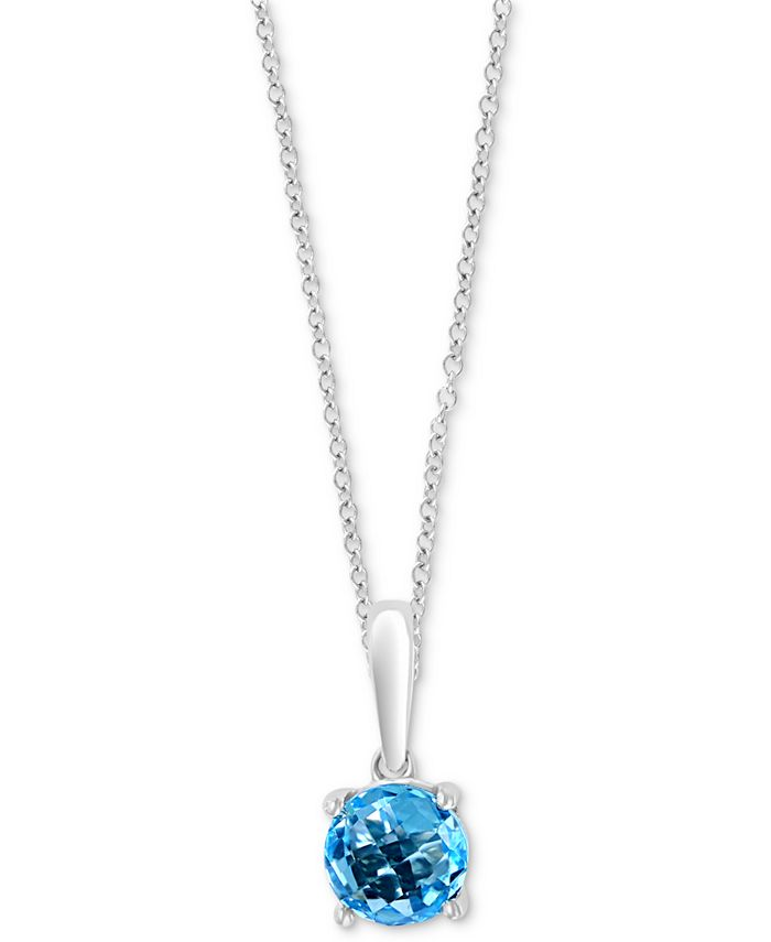 "EFFY Collection - Blue Topaz 18"" Pendant Necklace (1 ct. t.w.) in 14k White Gold"