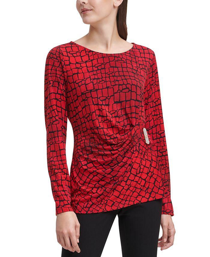 Calvin Klein - Embellished Logo Wrap Blouse