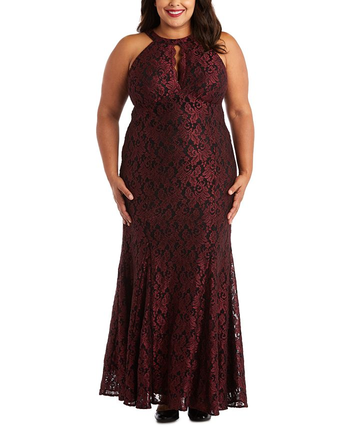 Nightway - Plus Size Glitter Lace Gown