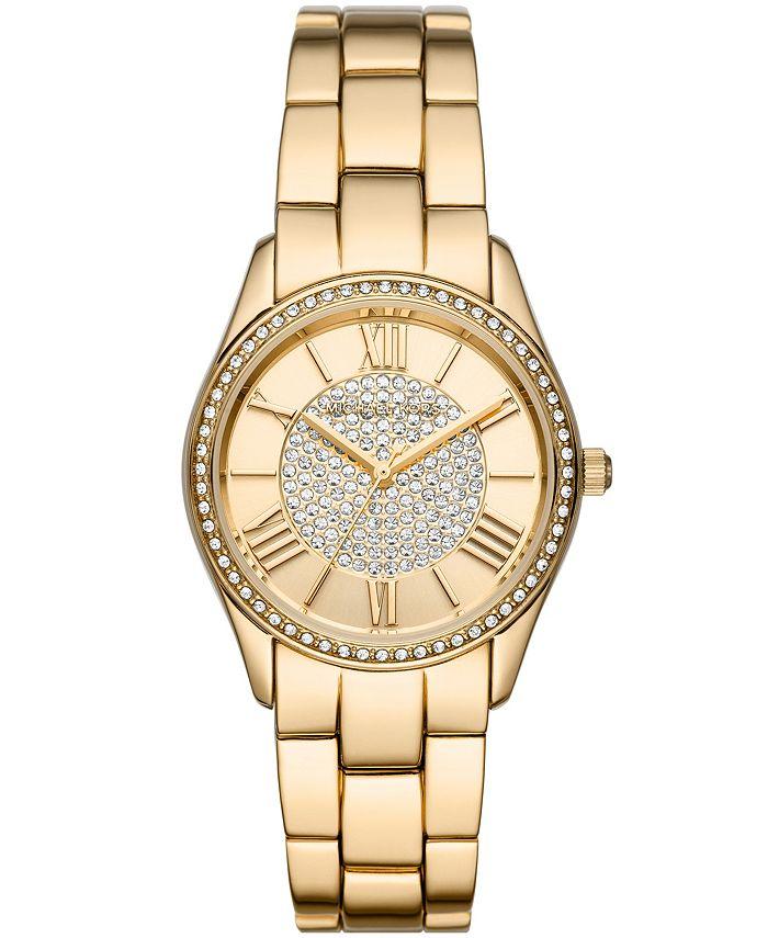 Michael Kors - Women's Heather Three-Hand Gold-Tone Alloy Bracelet Watch 34mm