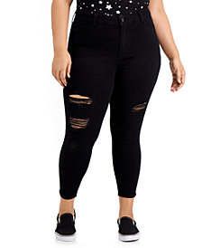 Celebrity Pink Trendy Plus Size Destructed Curvy Skinny Ankle Jeans
