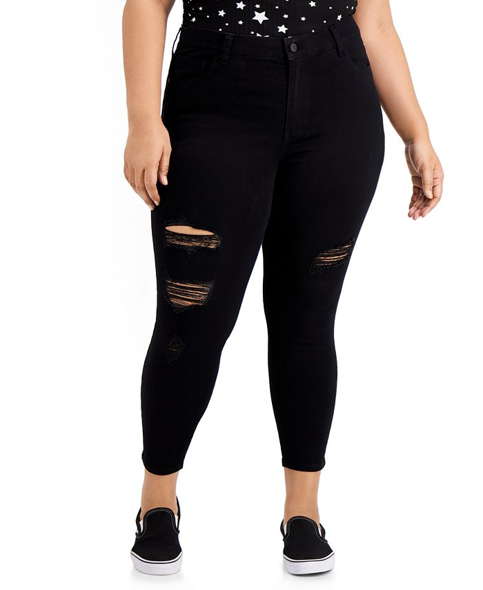 Celebrity Pink - Trendy Plus Size Destructed Curvy Skinny Ankle Jeans