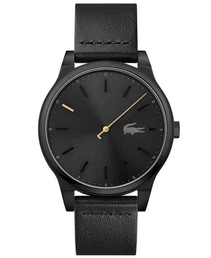 Lacoste - Men's Black Leather Strap Watch 43mm