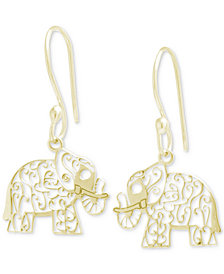 Giani Bernini Filigree Elephant Drop Earrings, Created for Macy's