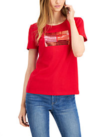 Tommy Hilfiger Cotton Metallic Stripes T-Shirt