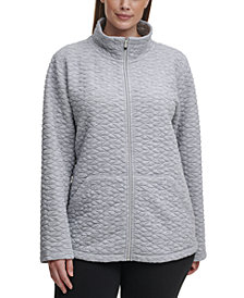 Calvin Klein Performance Plus Size Full-Zip Textured Jacket