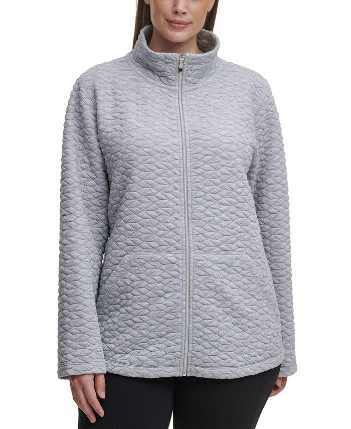 Calvin Klein - Plus Size Full-Zip Textured Jacket