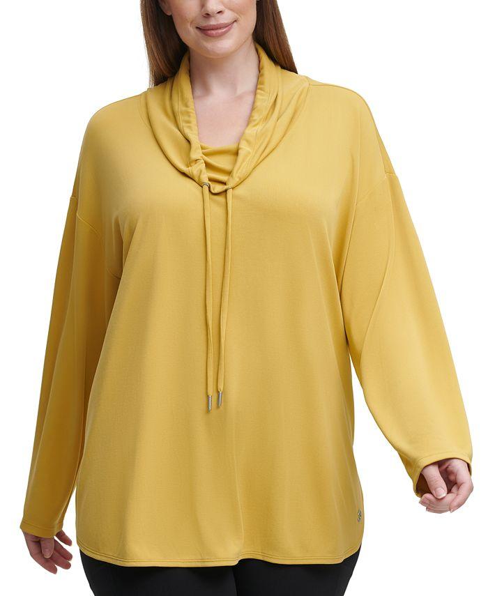 Calvin Klein - Plus Size Cowl-Neck Round-Hem Top
