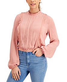 Self Esteem Juniors' Pleated Lace-Trim Blouse
