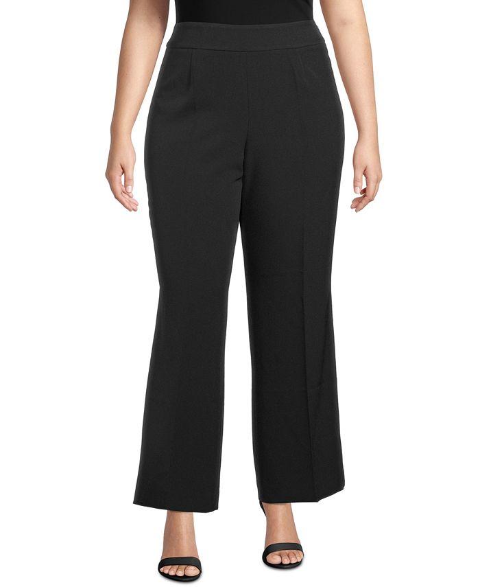 Kasper - Plus Size Wide-Leg Side-Zip Pants