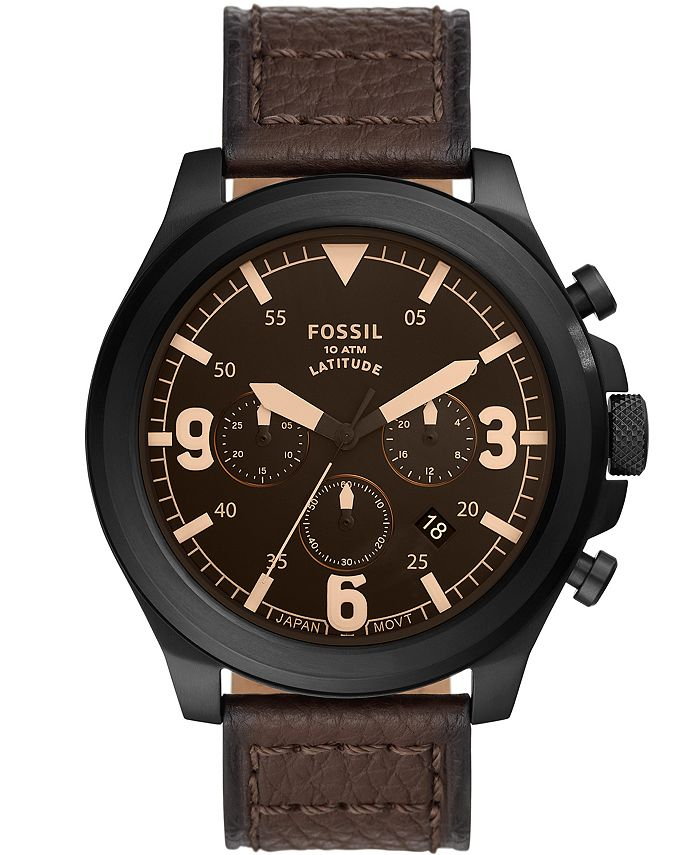 Fossil - Men's Latitude Brown Leather Strap Watch 50mm