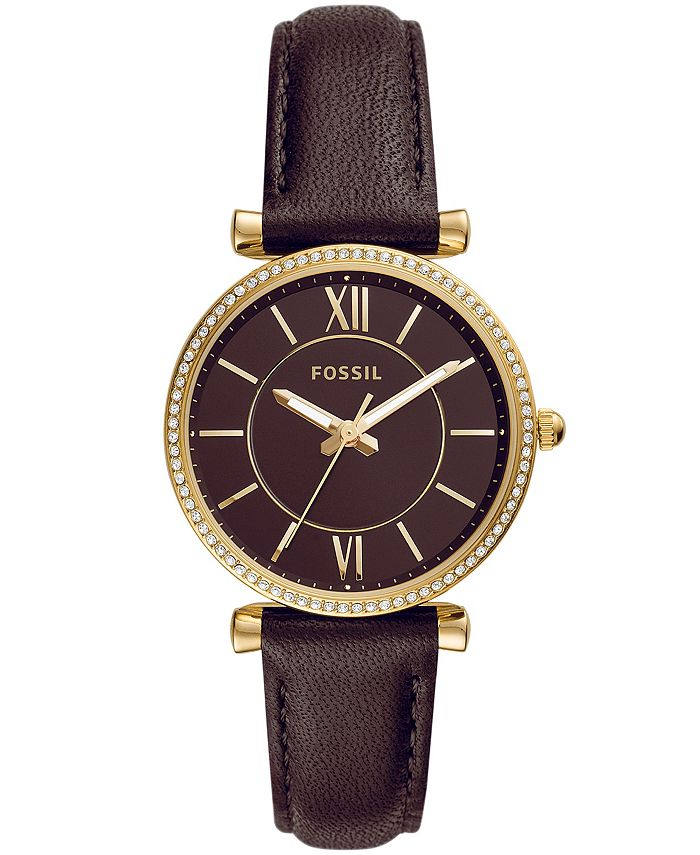 Fossil - Women's Carlie Brown Leather Strap Watch 35mm