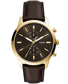 Fossil Men's Townsman Brown Leather Strap Watch 44mm