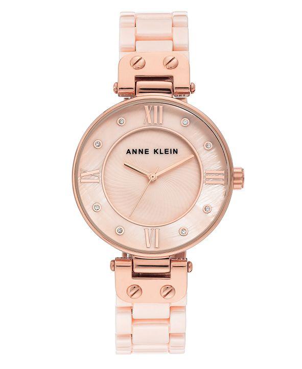 Anne Klein Women's Light Pink Ceramic and Mixed Metal Bracelet Watch 34mm