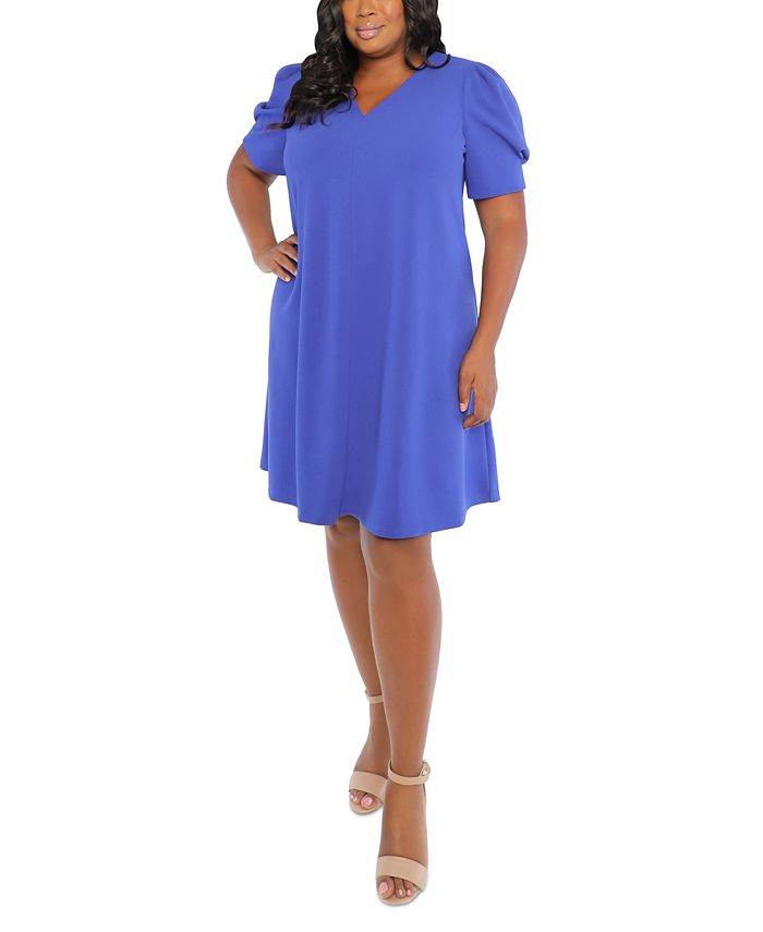 London Times - Plus Size Scuba-Crepe Puff-Sleeve Shift Dress