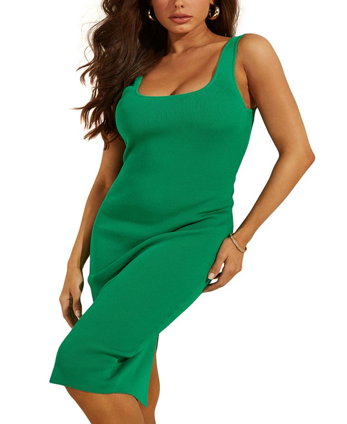 GUESS - Square-Neckline Fitted Ribbed Dress
