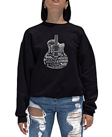 Women's Word Art Crewneck Languages Guitar Sweatshirt