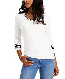 Tommy Hilfiger Cotton Striped-Cuff Sweater
