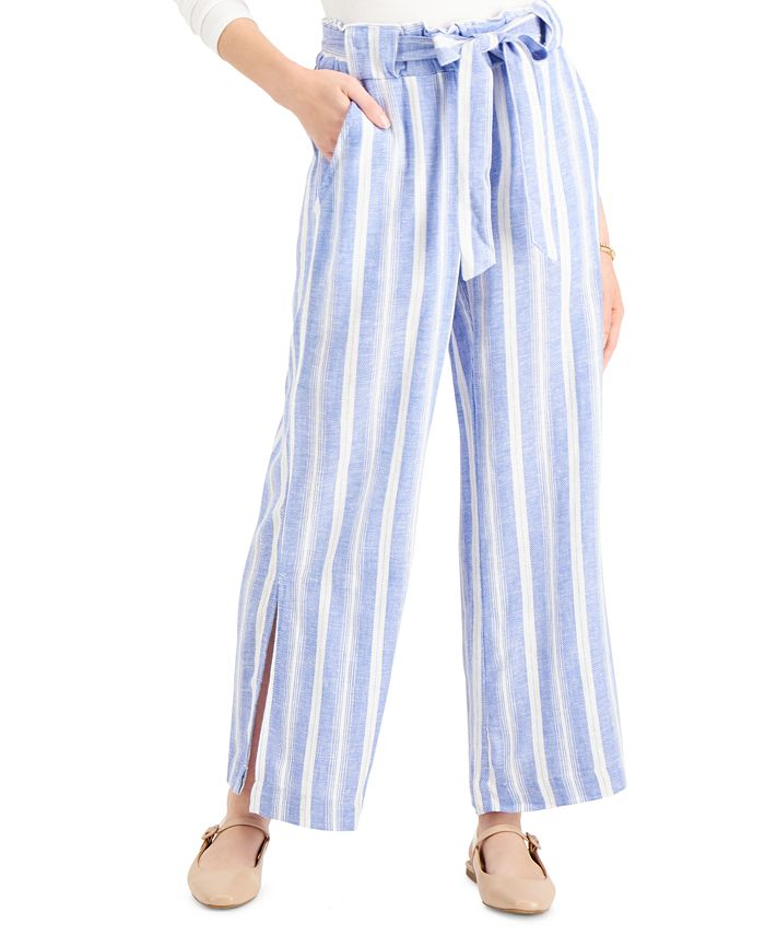 Indigo Rein - Juniors' Striped Belted Wide-Leg Pants