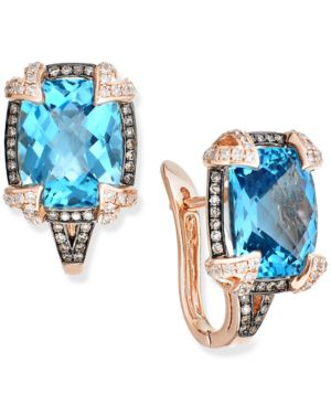Blue Topaz (7-1/10 ct. t.w.) and Diamond (1/4 ct. t.w.) Cushion Cut Earrings in 14k Rose Gold